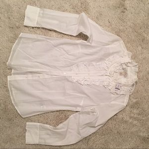 J Crew white cotton blouse with ruffle detailing